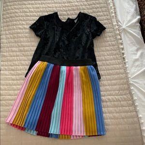 Girls 5T black velvet top and pleated skirt